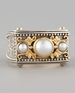 Konstantino Rectangle Pearl Ring