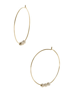 Michael Kors  Pave-Ball Hoop Earrings, Golden