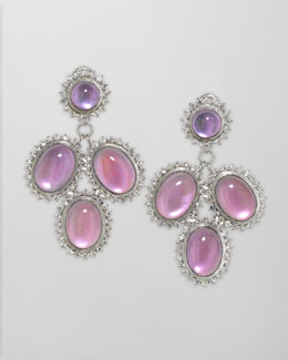 Elizabeth Showers Pink Cabochon Cascade Earrings