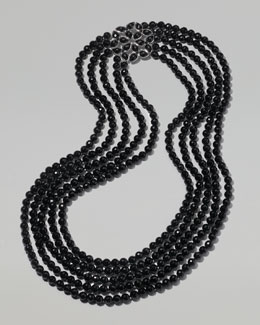 Elizabeth Showers Multi-Strand Onyx Bead Necklace