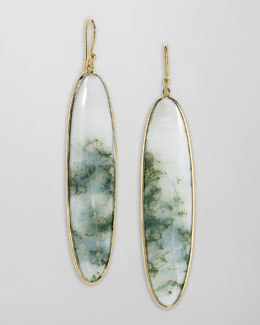 Elizabeth Showers Long 18k Gold Agate Drop Earrings