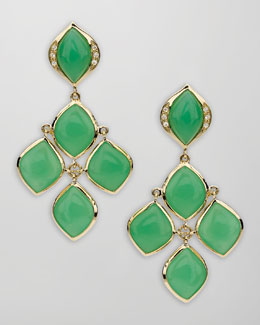 Elizabeth Showers Pave Diamond Chrysoprase Chandelier Earrings
