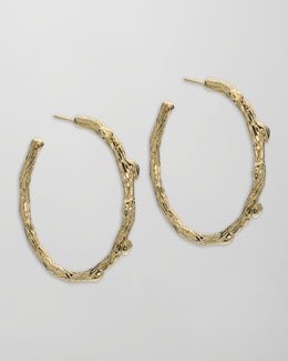 Elizabeth Showers Gold Twig Hoop Earrings