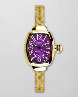 Miami Beach by Glam Rock Small Mesh-Strap Curved Watch, Gold