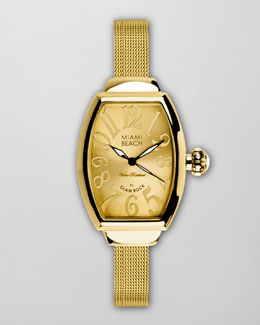 Miami Beach by Glam Rock Large Mesh-Strap Curved Watch, Gold
