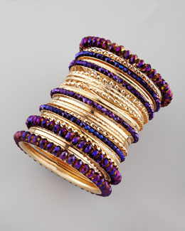 Cara Accessories 24-Piece Bangle Set, Purple