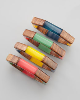 Chamak by Priya Kakkar Wooden Bangles, Set of Four