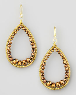 Panacea Beaded Teardrop Earrings, Bronze