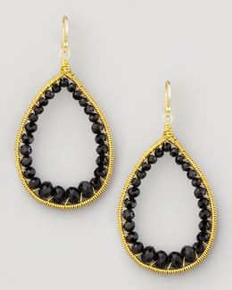 Panacea Beaded Teardrop Earrings, Black