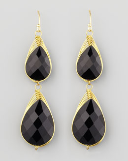 Panacea Double-Drop Wire-Trimmed Earrings, Black