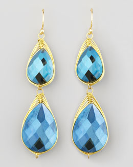 Panacea Double-Drop Wire-Trimmed Earrings, Blue