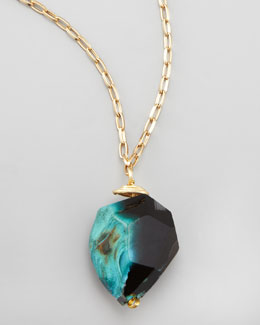 Panacea Long Rough Agate Pendant Necklace