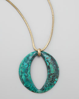 Panacea Long Patina Circle Pendant Necklace