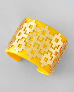Tory Burch Carson Tribal Enamel Cuff, Yellow
