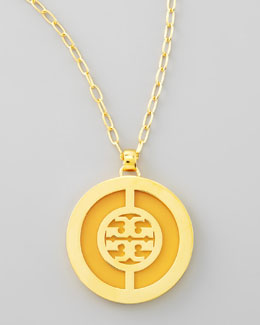 Tory Burch Deco Logo Pendant Necklace, Yellow