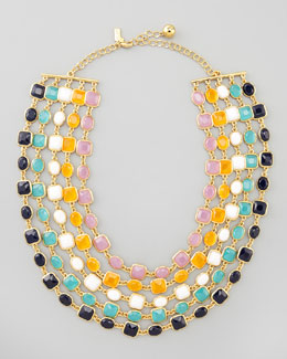 kate spade new york multi-strand bib necklace, multicolor