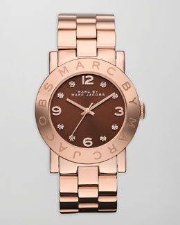 MARC by Marc Jacobs Amy Floral Watch, Rose Golden/Brown