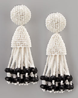 Oscar de la Renta Beaded Short Tassel Earrings, White/Black