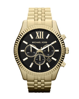 Michael Kors  Oversized Golden Stainless Steel Lexington Three-Hand Watch