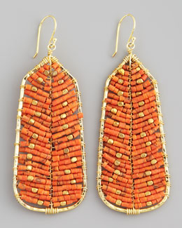 Nakamol Beaded Tribal Earrings, Orange