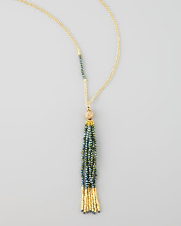 Nakamol Yellow Golden Tassel Pendant Necklace, Green