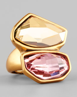 Oscar de la Renta Abstract Faceted Crystal Ring, Rose/Yellow