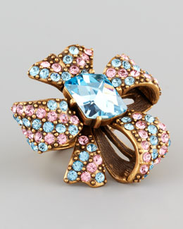 Oscar de la Renta Crystal Bow Ring, Aquamarine