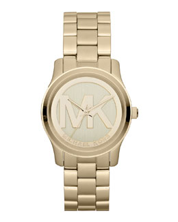 Michael Kors  Mid-Size Golden Stainless Steel Logo Three-Hand Watch