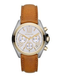 Michael Kors   Mid-Size Leather Bradshaw Chronograph Watch
