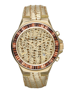 Michael Kors  Oversize Lizard-Embossed Gramercy Chronograph Glitz Watch