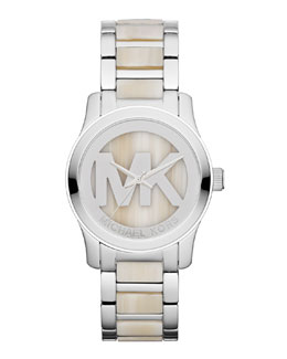 Michael Kors  Mid-Size Silver Color Stainless Steel Logo Three-Hand Watch