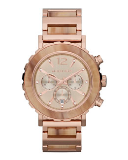Michael Kors  Oversize Rose Golden Stainless Steel Lillie Chronograph Glitz Watch