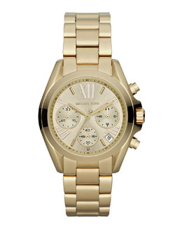 Michael Kors   Mid-Size Golden Stainless Steel Bradshaw Chronograph Watch
