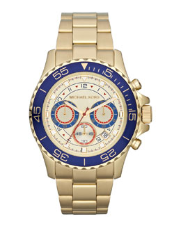 Michael Kors  Mid-Size Golden Stainless Steel Chronograph Watch