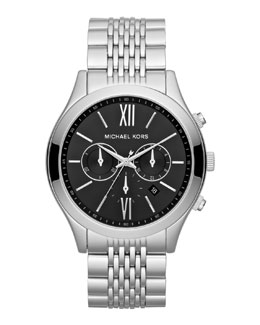 Michael Kors   Oversize Silver Color Stainless Steel Brookton Watch