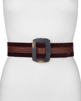 Donna Karan Rectangle-Buckle Artisan Belt, Clay