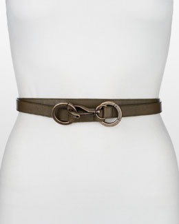 Donna Karan Double-Wrap Double-Ring Belt, Teak