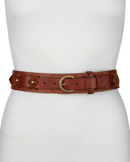 Donna Karan Stitched Two-Layer Belt, Saddle/Caramel