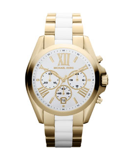 Michael Kors  Mid-Size Two-Tone Bradshaw Chronograph Watch