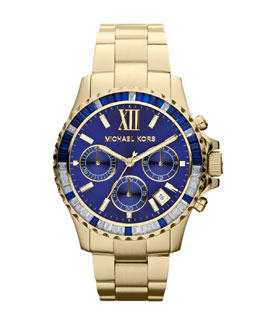 Michael Kors  Mid-Size Golden Stainless Steel Everest Chronograph Glitz Watch
