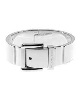 Michael Kors  Buckle Enamel Bracelet, Silver Color