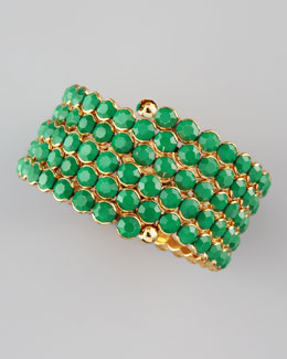 Cara Accessories Crystal Spiral Bracelet, Green