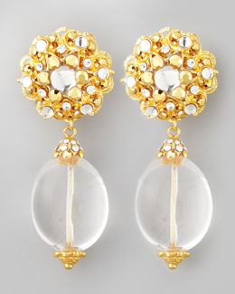 Jose & Maria Barrera Rock Crystal Clip Earrings