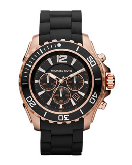 Michael Kors Black Silicone and Rose Golden Stainless Steel Everest Chronograph Watch