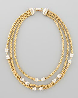 Rachel Zoe Three-Strand Twisted Chain Necklace, White