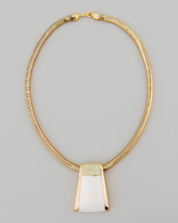 Rachel Zoe Pave Crystal Serpentine Necklace, White