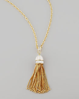 Rachel Zoe Tassel Pendant Necklace, White