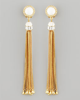 Rachel Zoe Tassel Post Earrings, White
