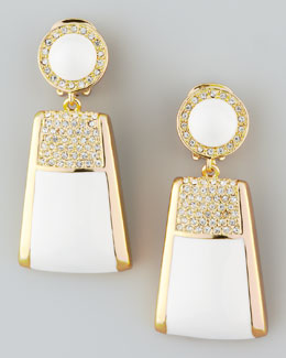 Rachel Zoe Pave Crystal Drop Clip Earrings, White