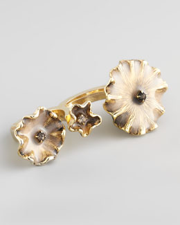 Colette Malouf Enameled Flower Double-Finger Ring, Mauve